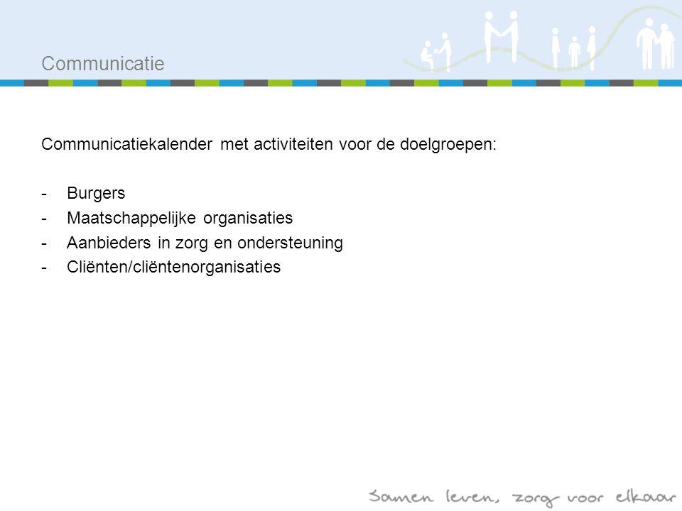 Communicatie Communicatiekalender met activiteiten voor de doelgroepen: -Burgers -Maatschappelijke organisaties -Aanbieders in zorg en ondersteuning -Cliënten/cliëntenorganisaties
