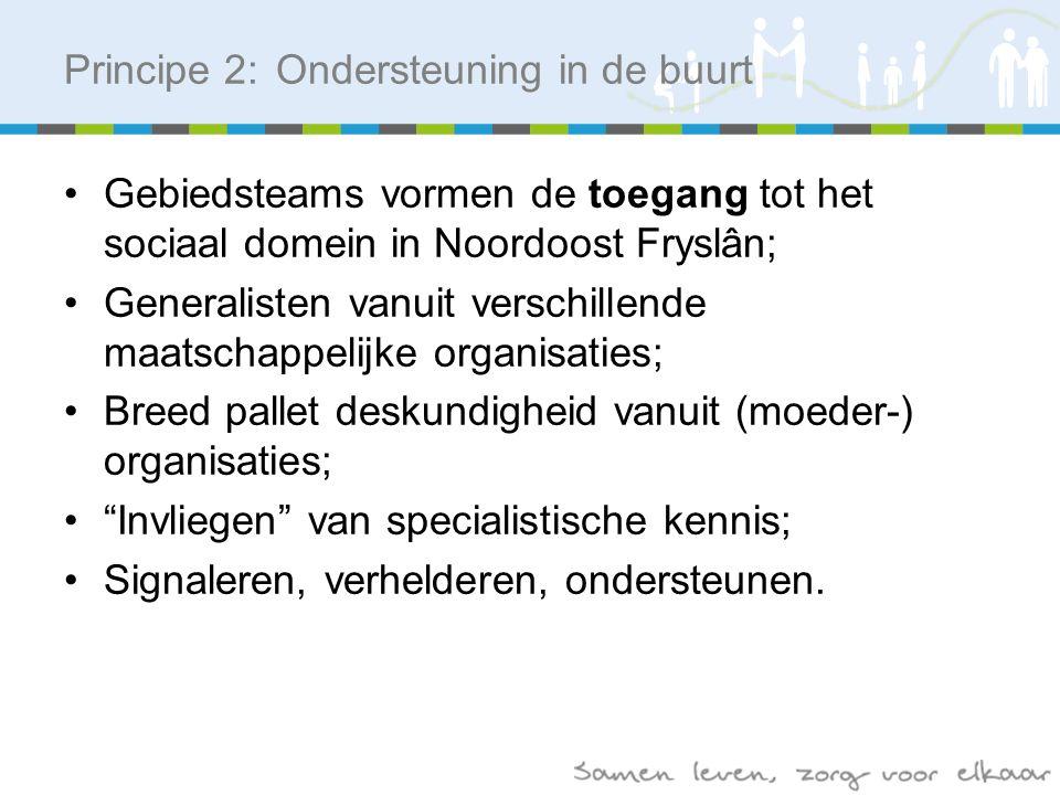 Gebiedsteams vormen de toegang tot het sociaal domein in Noordoost Fryslân; Generalisten vanuit verschillende maatschappelijke organisaties; Breed pallet deskundigheid vanuit (moeder-) organisaties; Invliegen van specialistische kennis; Signaleren, verhelderen, ondersteunen.