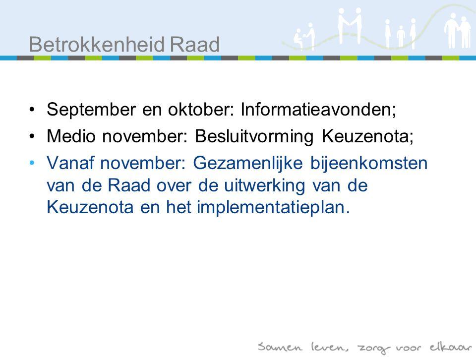 September en oktober: Informatieavonden; Medio november: Besluitvorming Keuzenota; Vanaf november: Gezamenlijke bijeenkomsten van de Raad over de uitwerking van de Keuzenota en het implementatieplan.
