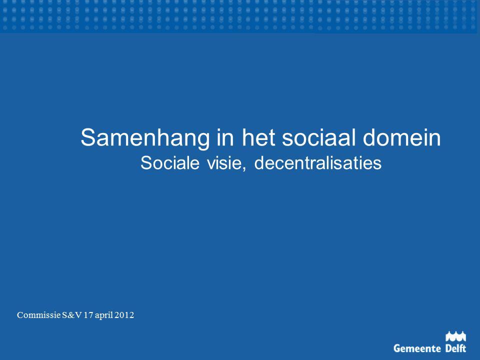 Samenhang in het sociaal domein Sociale visie, decentralisaties Commissie S&V 17 april 2012