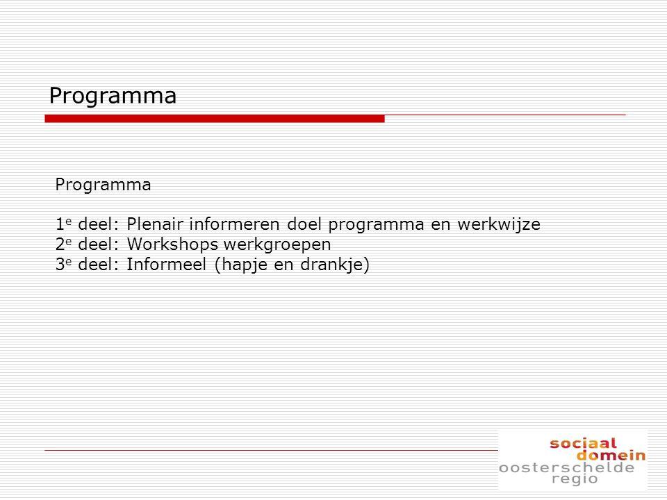 Programma 1 e deel: Plenair informeren doel programma en werkwijze 2 e deel: Workshops werkgroepen 3 e deel: Informeel (hapje en drankje)