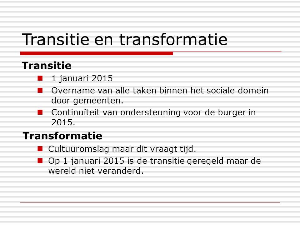 Transitie en transformatie Transitie 1 januari 2015 Overname van alle taken binnen het sociale domein door gemeenten. Continuïteit van ondersteuning v