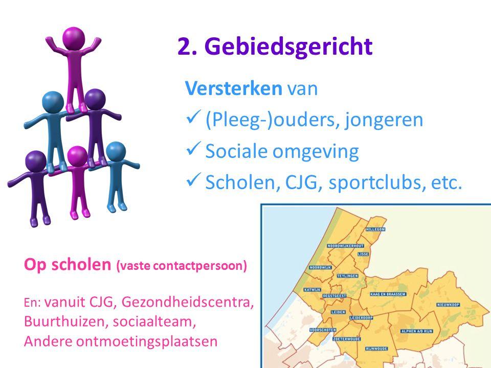 Versterken van (Pleeg-)ouders, jongeren Sociale omgeving Scholen, CJG, sportclubs, etc. Op scholen (vaste contactpersoon) En: vanuit CJG, Gezondheidsc