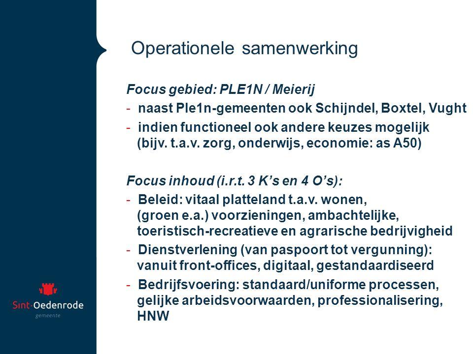 Operationele samenwerking Focus gebied: PLE1N / Meierij - naast Ple1n-gemeenten ook Schijndel, Boxtel, Vught - indien functioneel ook andere keuzes mo