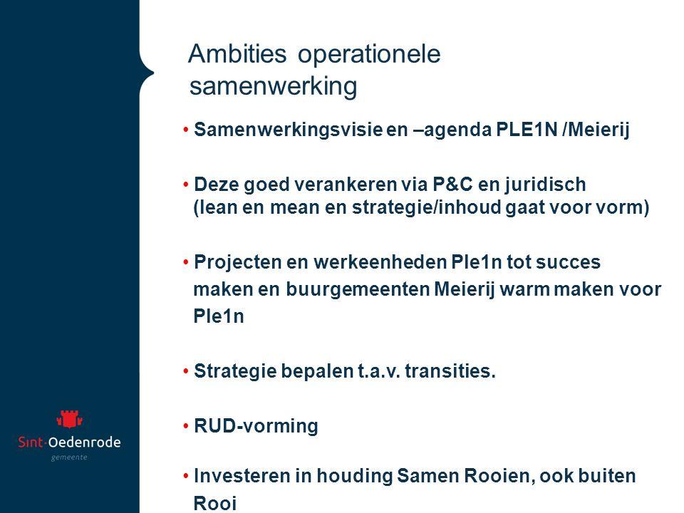 Ambities operationele samenwerking Samenwerkingsvisie en –agenda PLE1N /Meierij Deze goed verankeren via P&C en juridisch (lean en mean en strategie/i