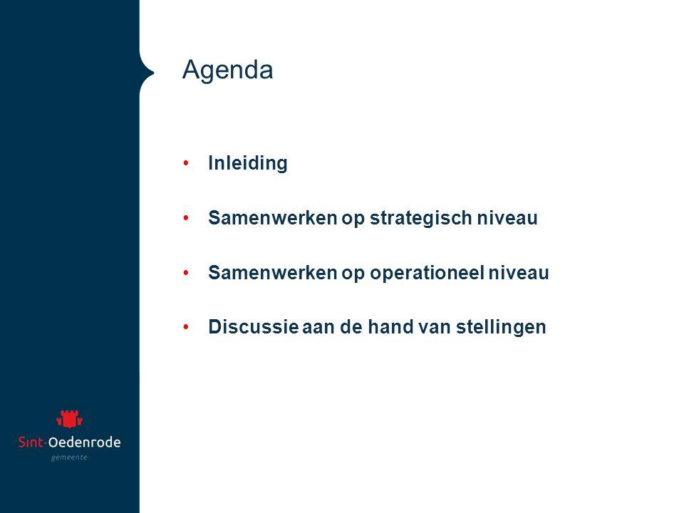 Agenda Inleiding Samenwerken op strategisch niveau Samenwerken op operationeel niveau Discussie aan de hand van stellingen