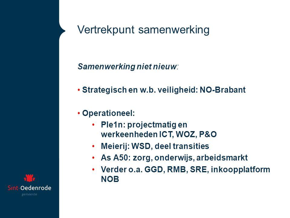 Vertrekpunt samenwerking Samenwerking niet nieuw: Strategisch en w.b. veiligheid: NO-Brabant Operationeel: Ple1n: projectmatig en werkeenheden ICT, WO
