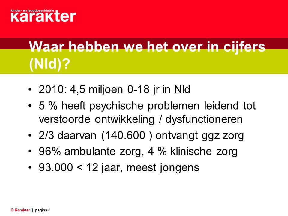 © Karakter |pagina 4 Waar hebben we het over in cijfers (Nld)? 2010: 4,5 miljoen 0-18 jr in Nld 5 % heeft psychische problemen leidend tot verstoorde
