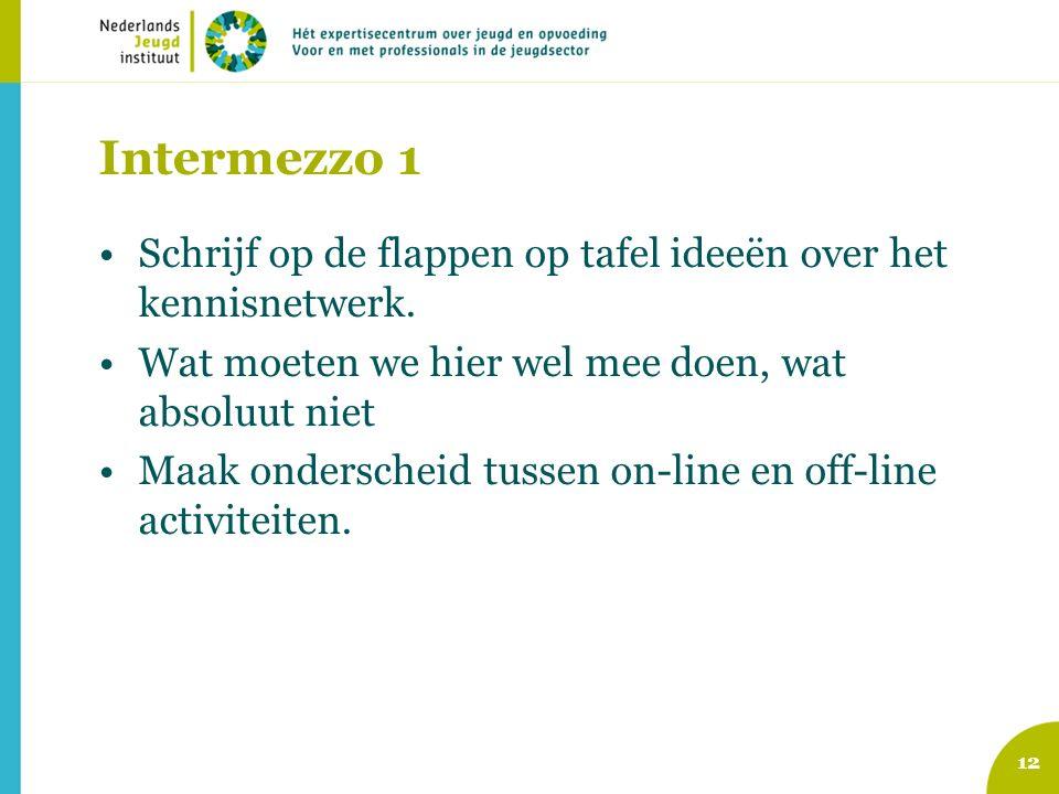 Intermezzo 1 Schrijf op de flappen op tafel ideeën over het kennisnetwerk.