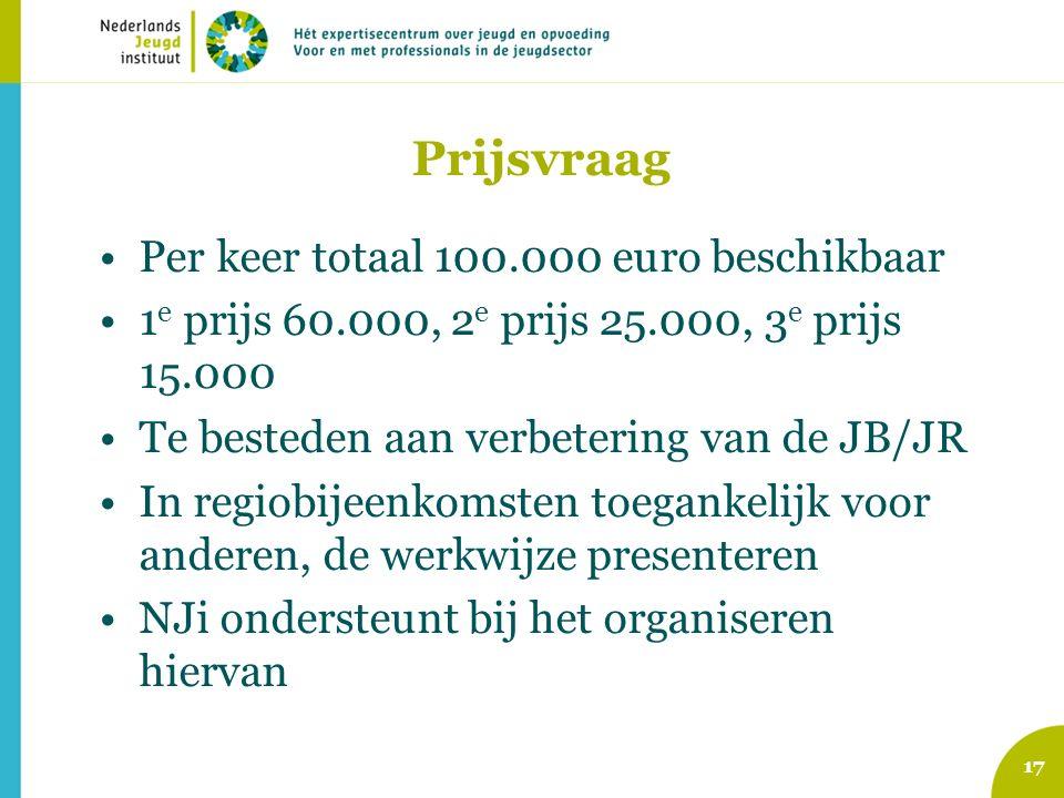 Prijsvraag Per keer totaal 100.000 euro beschikbaar 1 e prijs 60.000, 2 e prijs 25.000, 3 e prijs 15.000 Te besteden aan verbetering van de JB/JR In regiobijeenkomsten toegankelijk voor anderen, de werkwijze presenteren NJi ondersteunt bij het organiseren hiervan 17