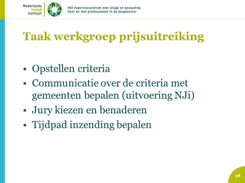 Taak werkgroep prijsuitreiking Opstellen criteria Communicatie over de criteria met gemeenten bepalen (uitvoering NJi) Jury kiezen en benaderen Tijdpad inzending bepalen 18