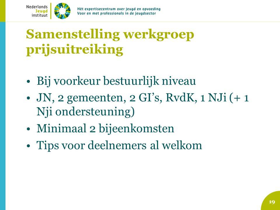 Samenstelling werkgroep prijsuitreiking Bij voorkeur bestuurlijk niveau JN, 2 gemeenten, 2 GI's, RvdK, 1 NJi (+ 1 Nji ondersteuning) Minimaal 2 bijeenkomsten Tips voor deelnemers al welkom 19
