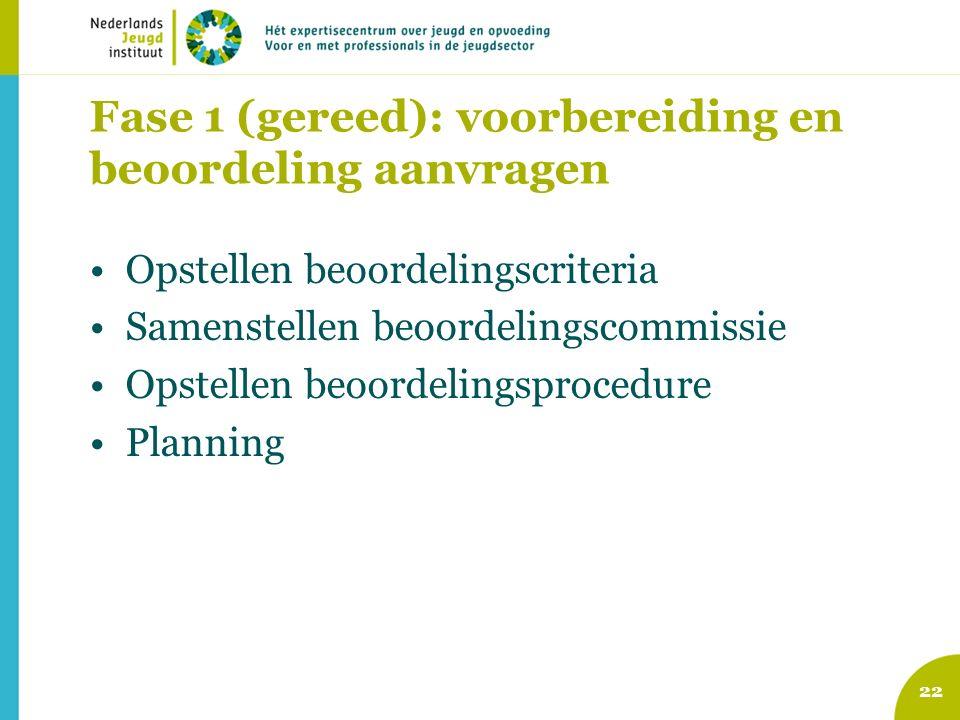Fase 1 (gereed): voorbereiding en beoordeling aanvragen Opstellen beoordelingscriteria Samenstellen beoordelingscommissie Opstellen beoordelingsprocedure Planning 22