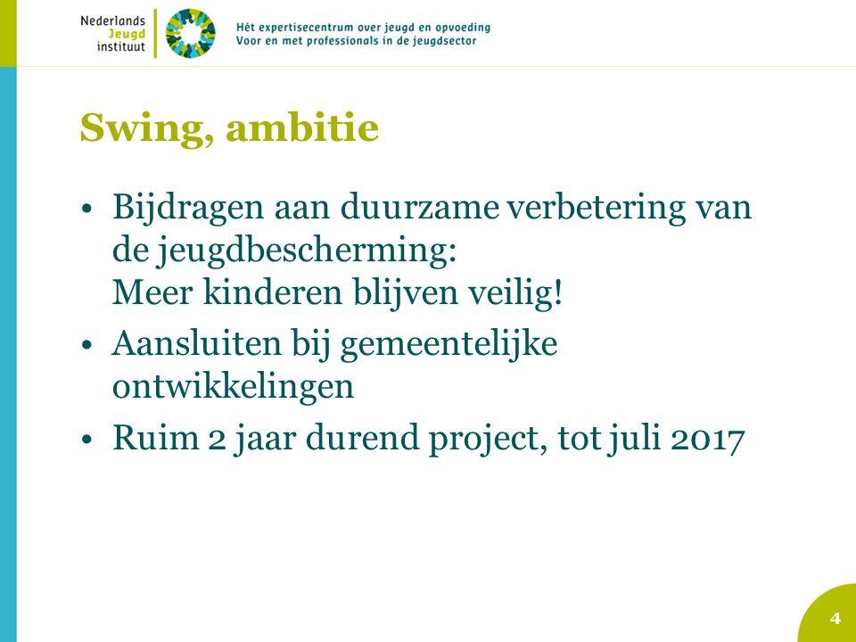 Swing, ambitie Bijdragen aan duurzame verbetering van de jeugdbescherming: Meer kinderen blijven veilig.