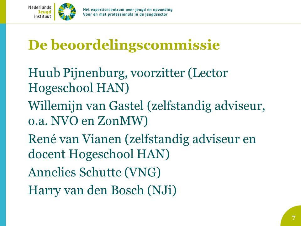De beoordelingscommissie Huub Pijnenburg, voorzitter (Lector Hogeschool HAN) Willemijn van Gastel (zelfstandig adviseur, o.a.