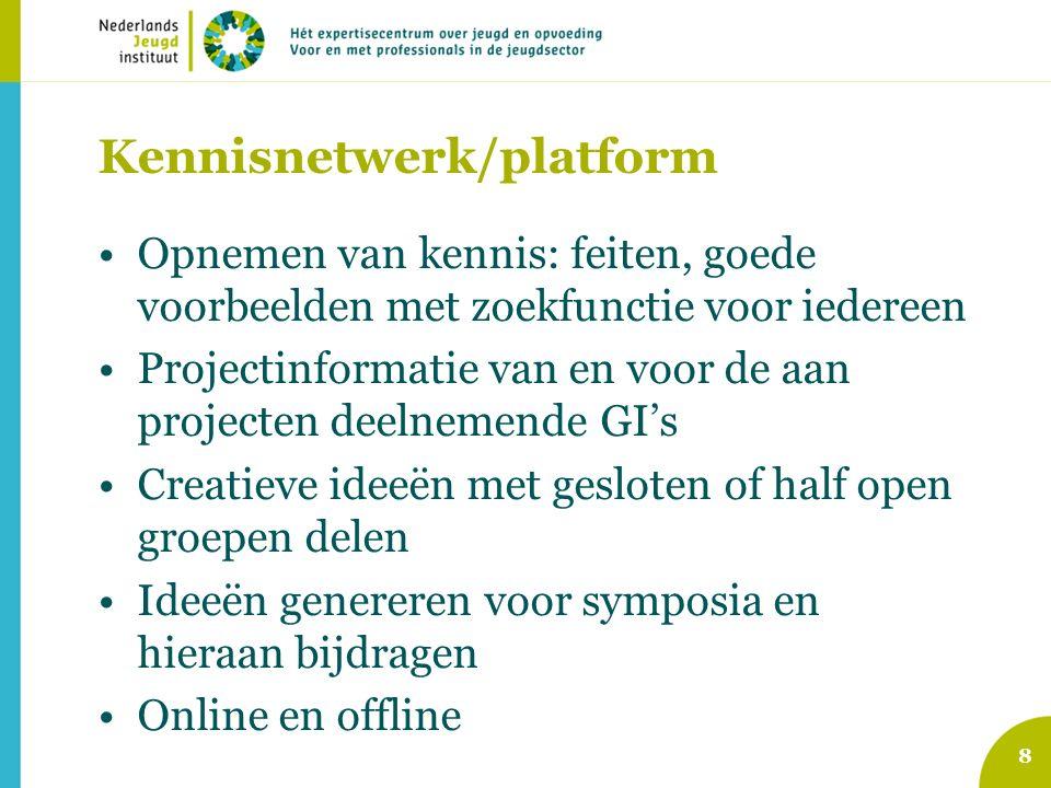 Kennisnetwerk/platform Opnemen van kennis: feiten, goede voorbeelden met zoekfunctie voor iedereen Projectinformatie van en voor de aan projecten deelnemende GI's Creatieve ideeën met gesloten of half open groepen delen Ideeën genereren voor symposia en hieraan bijdragen Online en offline 8