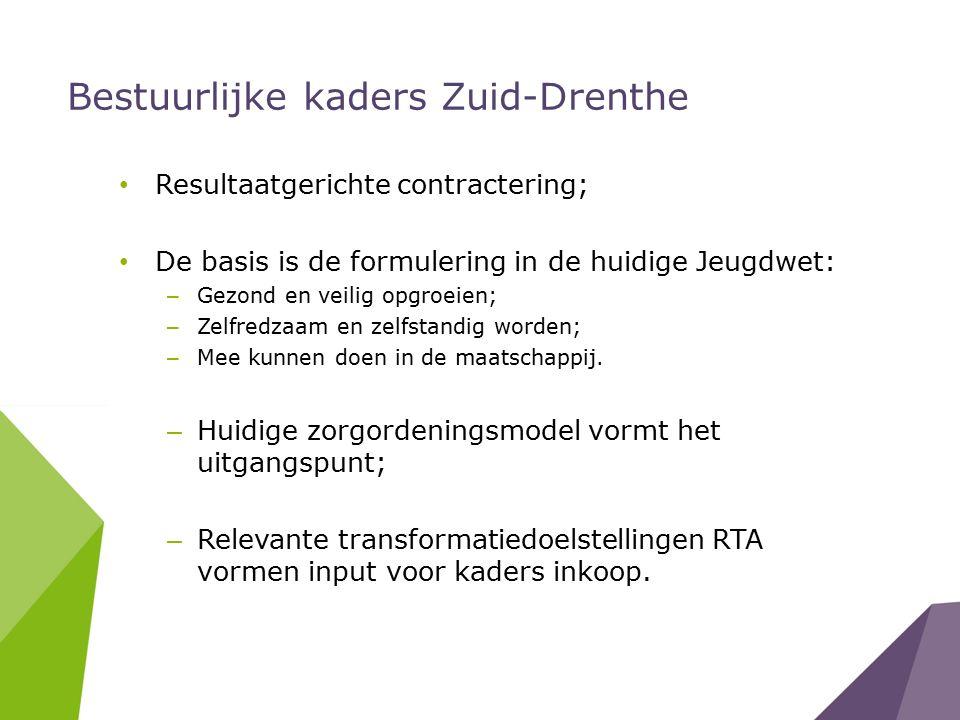 Bestuurlijke kaders Zuid-Drenthe Resultaatgerichte contractering; De basis is de formulering in de huidige Jeugdwet: – Gezond en veilig opgroeien; – Zelfredzaam en zelfstandig worden; – Mee kunnen doen in de maatschappij.
