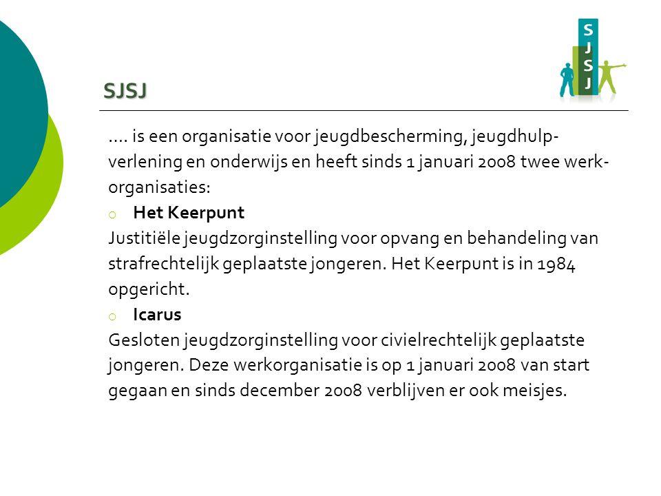 SJSJ …. is een organisatie voor jeugdbescherming, jeugdhulp- verlening en onderwijs en heeft sinds 1 januari 2008 twee werk- organisaties:  Het Keerp