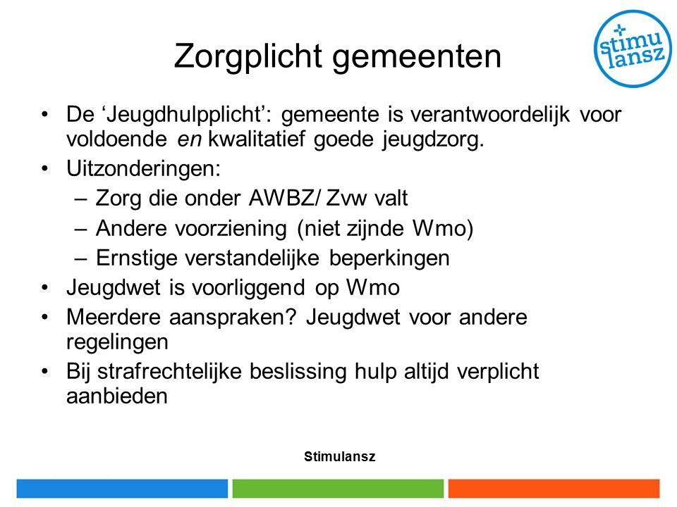 Stimulansz Zorgplicht gemeenten De 'Jeugdhulpplicht': gemeente is verantwoordelijk voor voldoende en kwalitatief goede jeugdzorg.