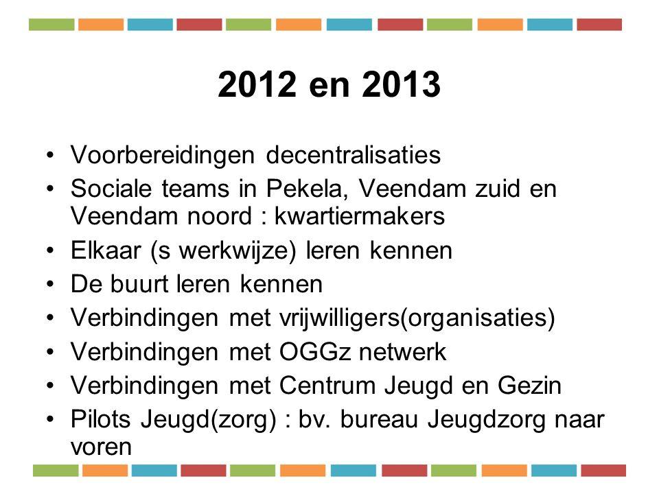 2012 en 2013 Voorbereidingen decentralisaties Sociale teams in Pekela, Veendam zuid en Veendam noord : kwartiermakers Elkaar (s werkwijze) leren kennen De buurt leren kennen Verbindingen met vrijwilligers(organisaties) Verbindingen met OGGz netwerk Verbindingen met Centrum Jeugd en Gezin Pilots Jeugd(zorg) : bv.