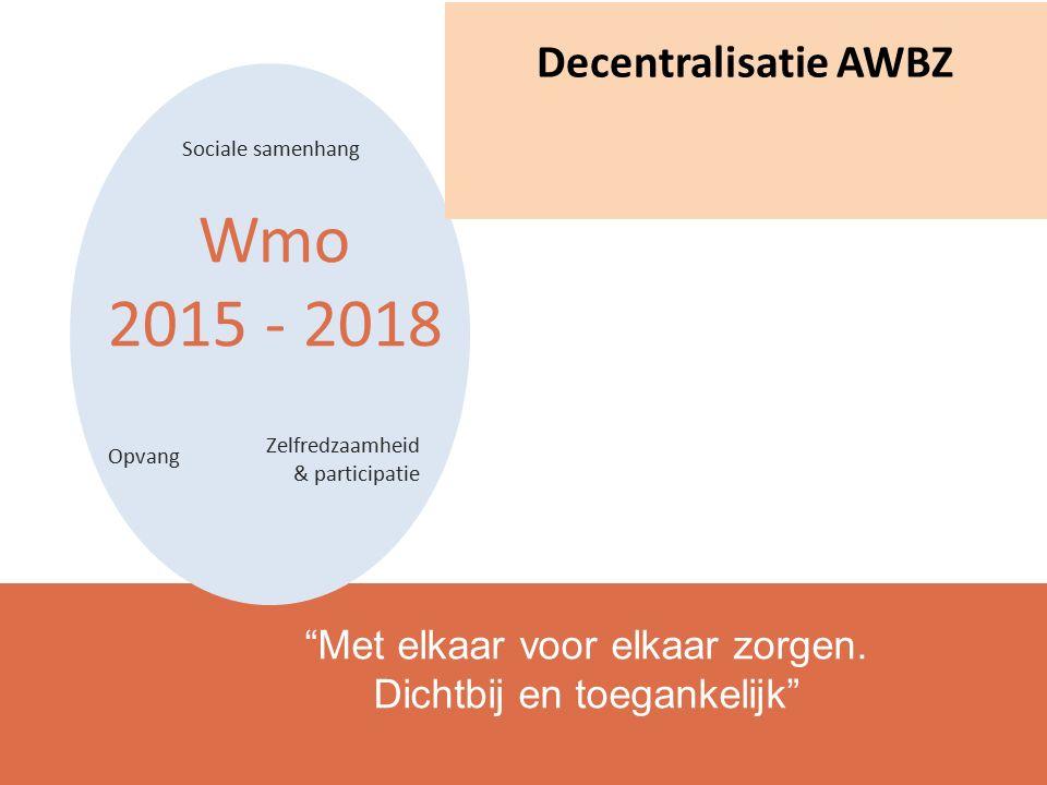 Wmo 2015 - 2018 Sociale samenhang Zelfredzaamheid & participatie Opvang Met elkaar voor elkaar zorgen.