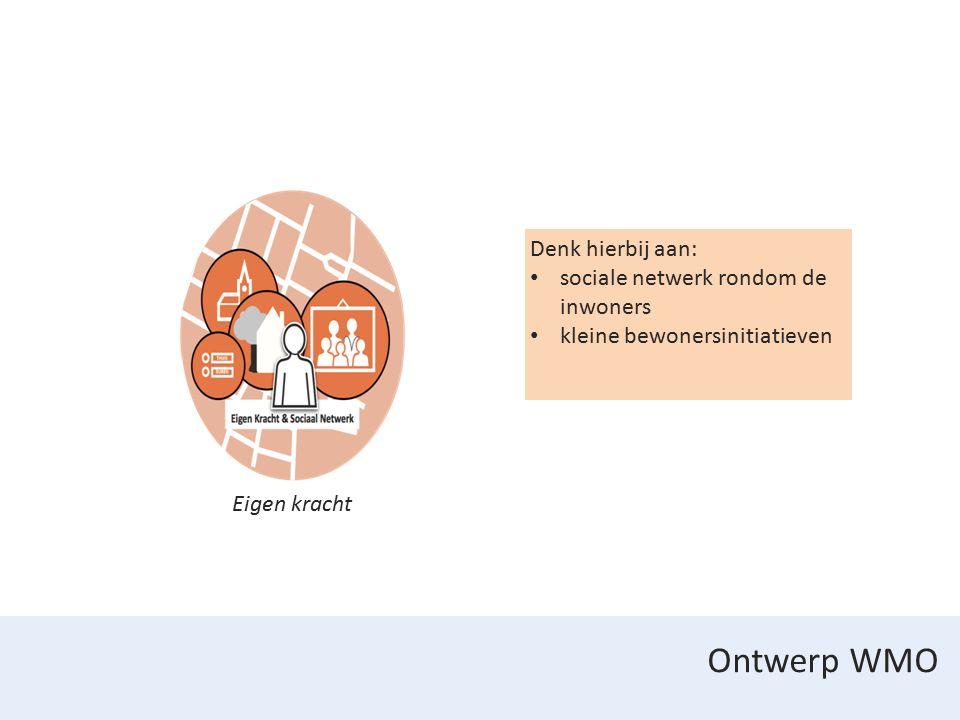 Ontwerp WMO Eigen kracht Denk hierbij aan: sociale netwerk rondom de inwoners kleine bewonersinitiatieven