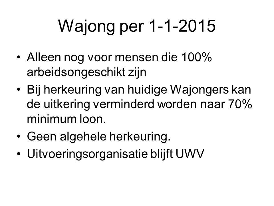 Wajong per 1-1-2015 Alleen nog voor mensen die 100% arbeidsongeschikt zijn Bij herkeuring van huidige Wajongers kan de uitkering verminderd worden naar 70% minimum loon.