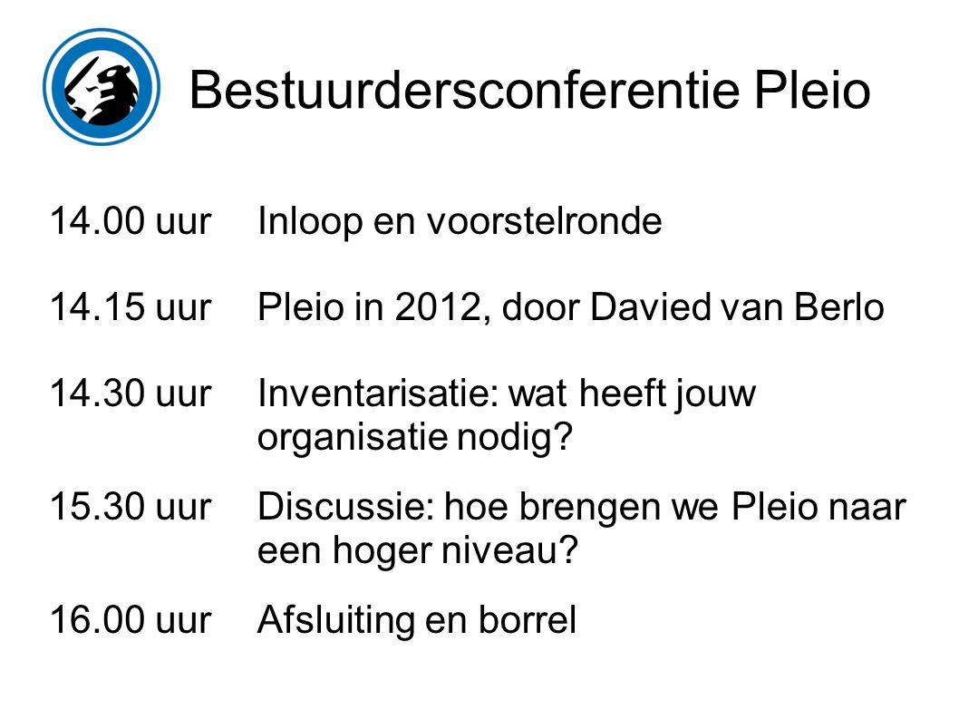 Bestuurdersconferentie Pleio 14.00 uur 14.15 uur 14.30 uur 15.30 uur 16.00 uur Inloop en voorstelronde Pleio in 2012, door Davied van Berlo Inventarisatie: wat heeft jouw organisatie nodig.