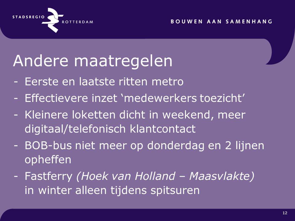 12 Andere maatregelen -Eerste en laatste ritten metro -Effectievere inzet 'medewerkers toezicht' -Kleinere loketten dicht in weekend, meer digitaal/telefonisch klantcontact -BOB-bus niet meer op donderdag en 2 lijnen opheffen -Fastferry (Hoek van Holland – Maasvlakte) in winter alleen tijdens spitsuren