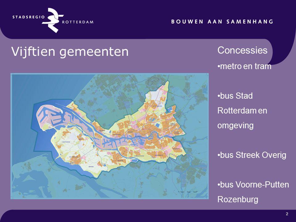2 Vijftien gemeenten Concessies metro en tram bus Stad Rotterdam en omgeving bus Streek Overig bus Voorne-Putten Rozenburg