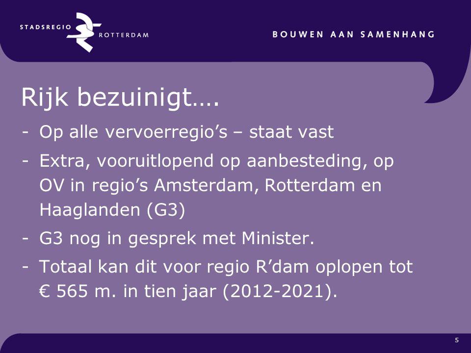 6 Bezuiniging 2012 -Aanleg, Beh en onderhoud OV € 13 mln -Exploitatie OV € 12 mln -Nog niet ingevulde bezuiniging € 8 mln Totaal € 33 mln