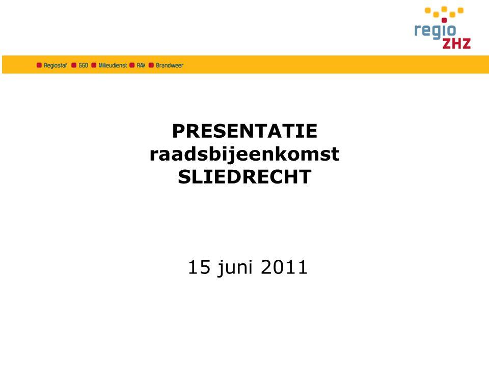 PRESENTATIE raadsbijeenkomst SLIEDRECHT 15 juni 2011