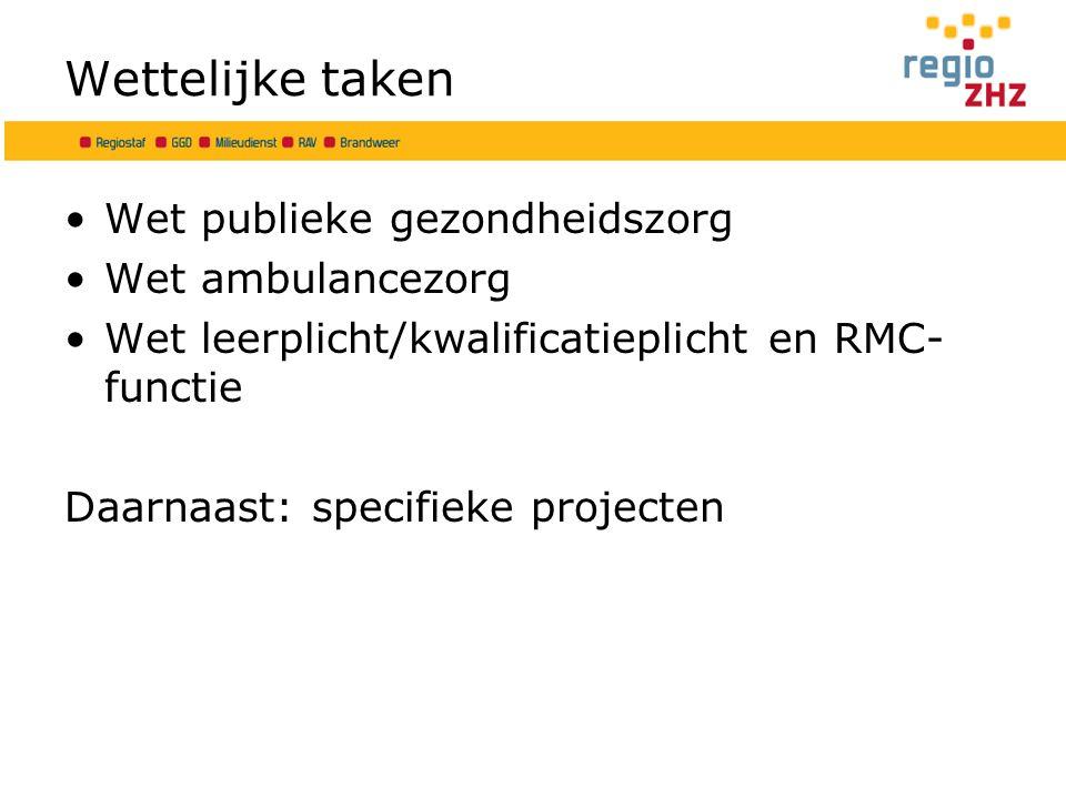 Wettelijke taken Wet publieke gezondheidszorg Wet ambulancezorg Wet leerplicht/kwalificatieplicht en RMC- functie Daarnaast: specifieke projecten