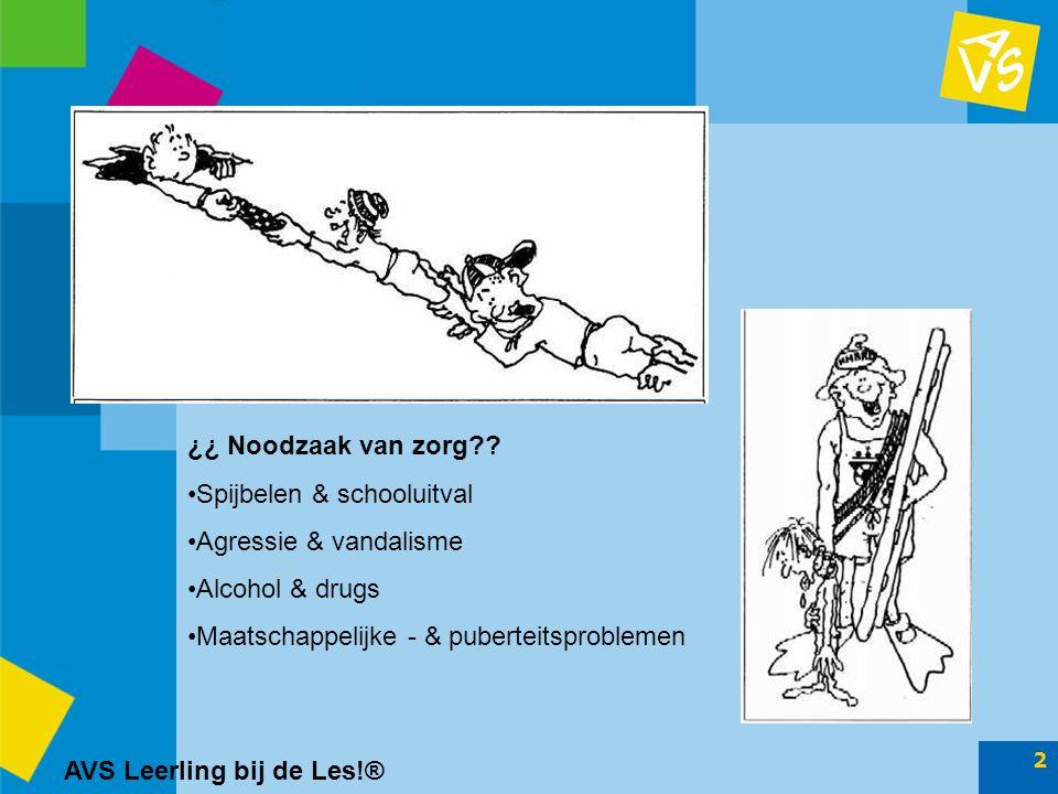 AVS Leerling bij de Les!® 13 Doelstelling Passend onderwijs Ruimte voor maatwerk en flexibiliteit in de zorgstructuren  LBL: bottom-up ontwikkeling Vraag-gestuurd aanbod, vanuit behoefte van (zorg-)leerling  Gerelateerd aan doelgroep van school/stroom Kansen en risico-inventarisatie bij realisatie van zorgplichten  LBL levert SWOT-analyse Raakvlakken met andere gebieden: –Kwaliteitszorg –Beleidsvoering –Belang van ononderbroken ontwikkelingsproces van de leerling