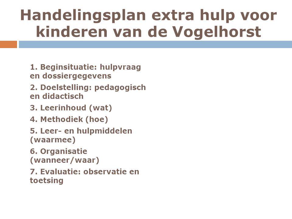 Handelingsplan extra hulp voor kinderen van de Vogelhorst 1.