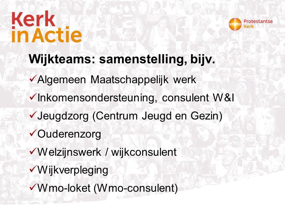 Wijkteams: samenstelling, bijv. Algemeen Maatschappelijk werk Inkomensondersteuning, consulent W&I Jeugdzorg (Centrum Jeugd en Gezin) Ouderenzorg Welz