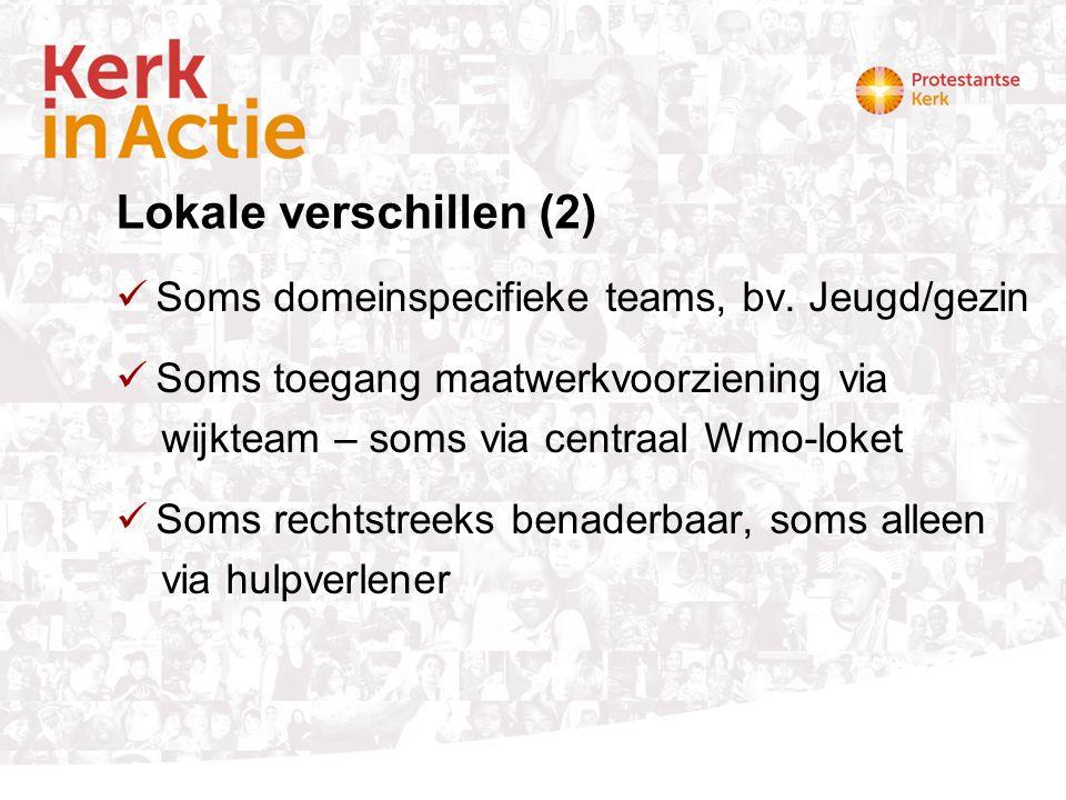 Lokale verschillen (2) Soms domeinspecifieke teams, bv. Jeugd/gezin Soms toegang maatwerkvoorziening via wijkteam – soms via centraal Wmo-loket Soms r