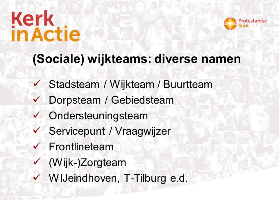 (Sociale) wijkteams: diverse namen Stadsteam / Wijkteam / Buurtteam Dorpsteam / Gebiedsteam Ondersteuningsteam Servicepunt / Vraagwijzer Frontlineteam