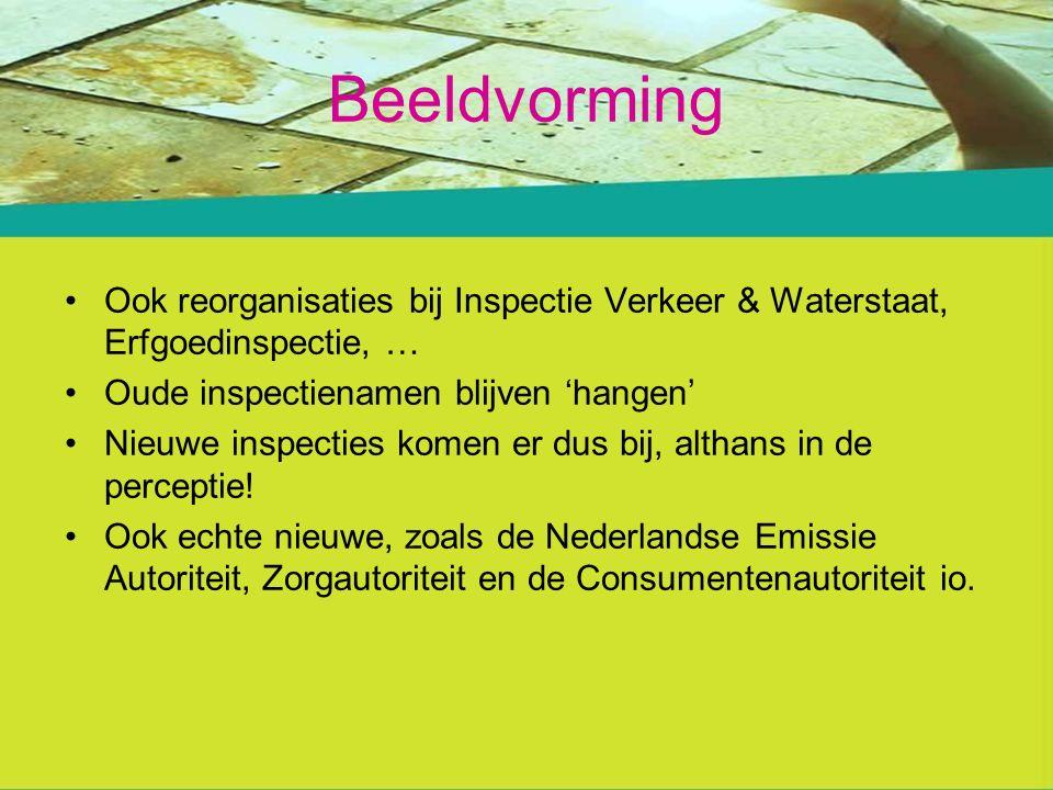 Beeldvorming Ook reorganisaties bij Inspectie Verkeer & Waterstaat, Erfgoedinspectie, … Oude inspectienamen blijven 'hangen' Nieuwe inspecties komen er dus bij, althans in de perceptie.
