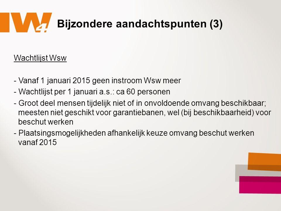 Bijzondere aandachtspunten (3) Wachtlijst Wsw - Vanaf 1 januari 2015 geen instroom Wsw meer - Wachtlijst per 1 januari a.s.: ca 60 personen - Groot de