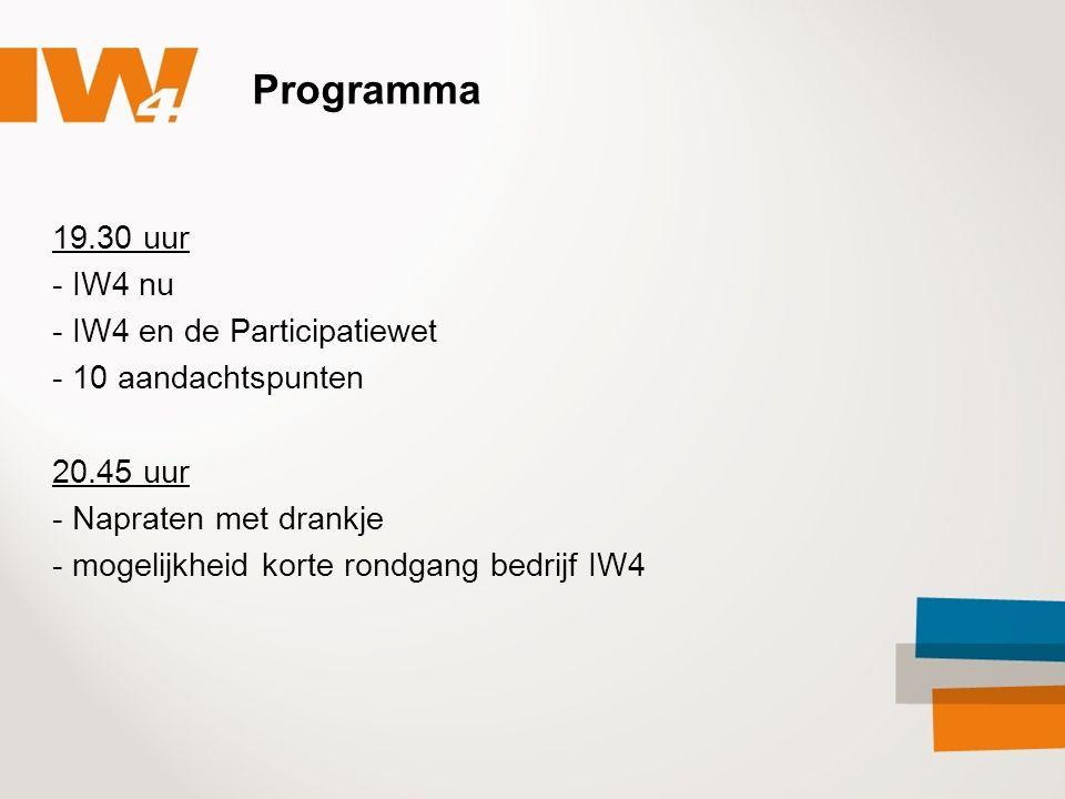 Programma 19.30 uur - IW4 nu - IW4 en de Participatiewet - 10 aandachtspunten 20.45 uur - Napraten met drankje - mogelijkheid korte rondgang bedrijf IW4