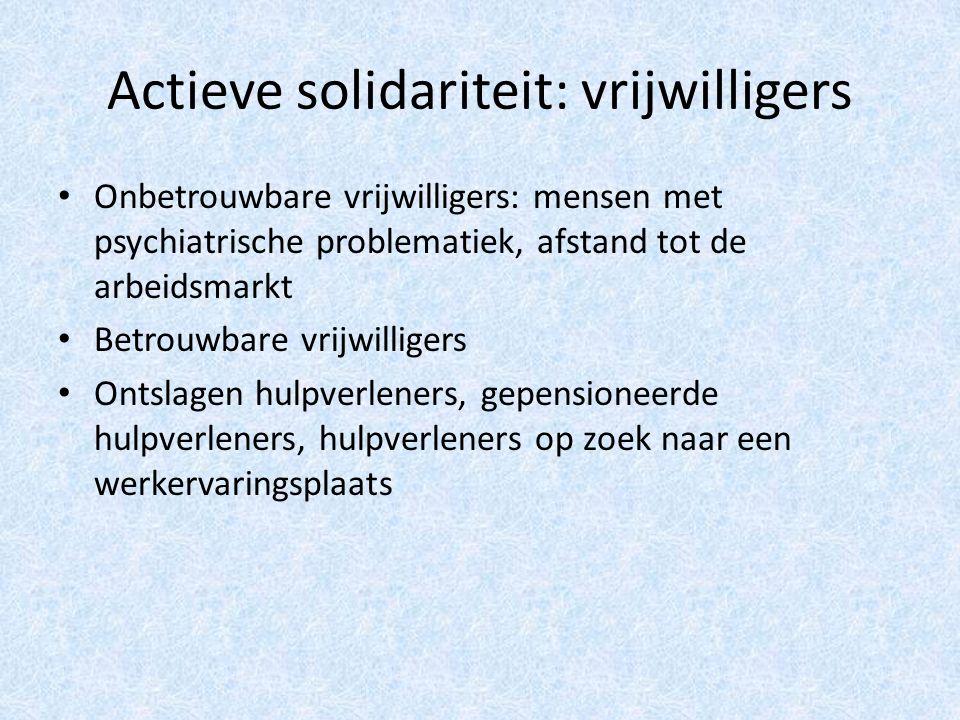 Actieve solidariteit: vrijwilligers Onbetrouwbare vrijwilligers: mensen met psychiatrische problematiek, afstand tot de arbeidsmarkt Betrouwbare vrijwilligers Ontslagen hulpverleners, gepensioneerde hulpverleners, hulpverleners op zoek naar een werkervaringsplaats