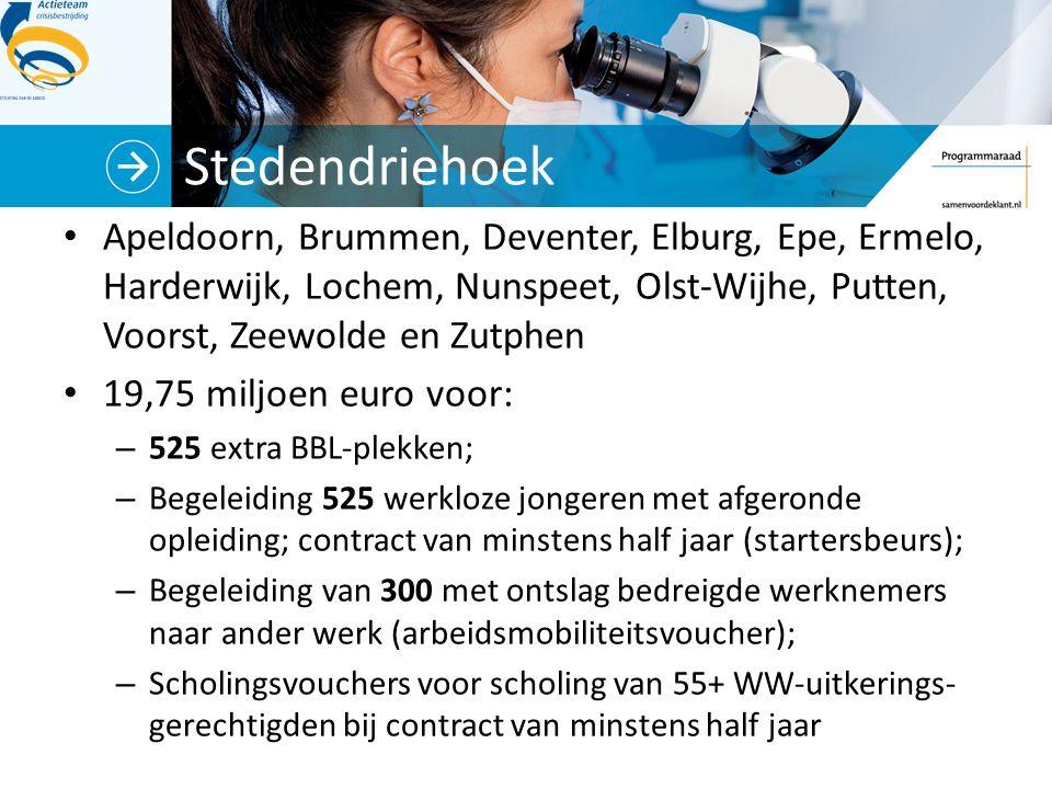 Stedendriehoek Apeldoorn, Brummen, Deventer, Elburg, Epe, Ermelo, Harderwijk, Lochem, Nunspeet, Olst-Wijhe, Putten, Voorst, Zeewolde en Zutphen 19,75 miljoen euro voor: – 525 extra BBL-plekken; – Begeleiding 525 werkloze jongeren met afgeronde opleiding; contract van minstens half jaar (startersbeurs); – Begeleiding van 300 met ontslag bedreigde werknemers naar ander werk (arbeidsmobiliteitsvoucher); – Scholingsvouchers voor scholing van 55+ WW-uitkerings- gerechtigden bij contract van minstens half jaar