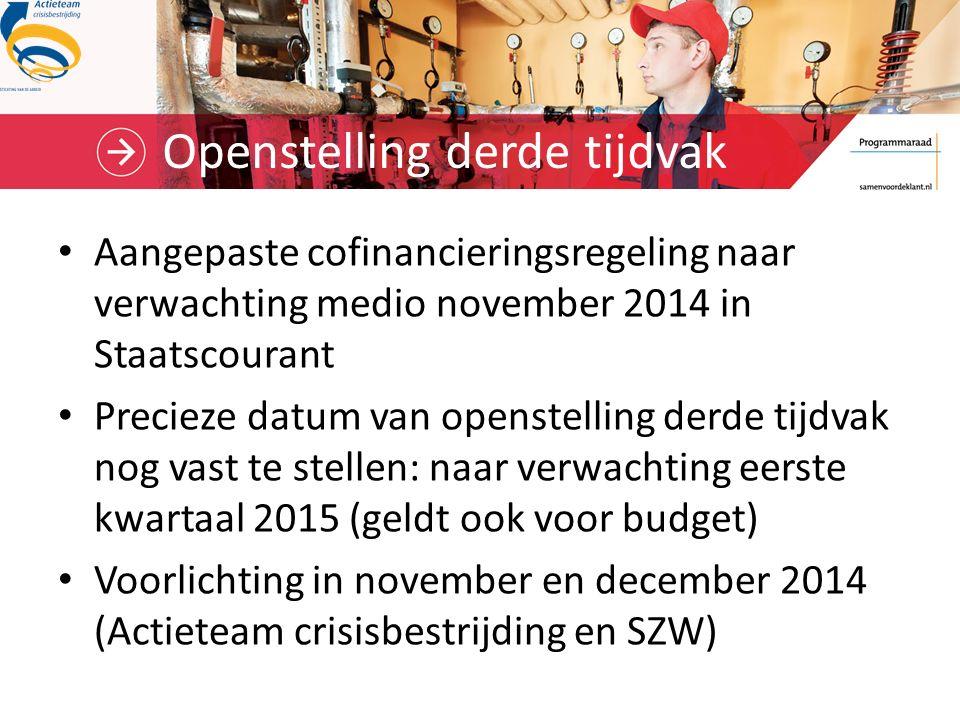 Openstelling derde tijdvak Aangepaste cofinancieringsregeling naar verwachting medio november 2014 in Staatscourant Precieze datum van openstelling de
