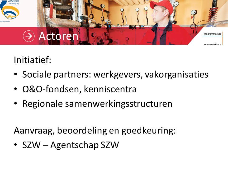 Actoren Initiatief: Sociale partners: werkgevers, vakorganisaties O&O-fondsen, kenniscentra Regionale samenwerkingsstructuren Aanvraag, beoordeling en goedkeuring: SZW – Agentschap SZW