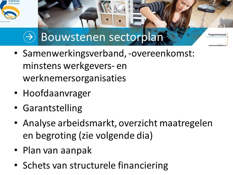 Bouwstenen sectorplan Samenwerkingsverband, -overeenkomst: minstens werkgevers- en werknemersorganisaties Hoofdaanvrager Garantstelling Analyse arbeidsmarkt, overzicht maatregelen en begroting (zie volgende dia) Plan van aanpak Schets van structurele financiering