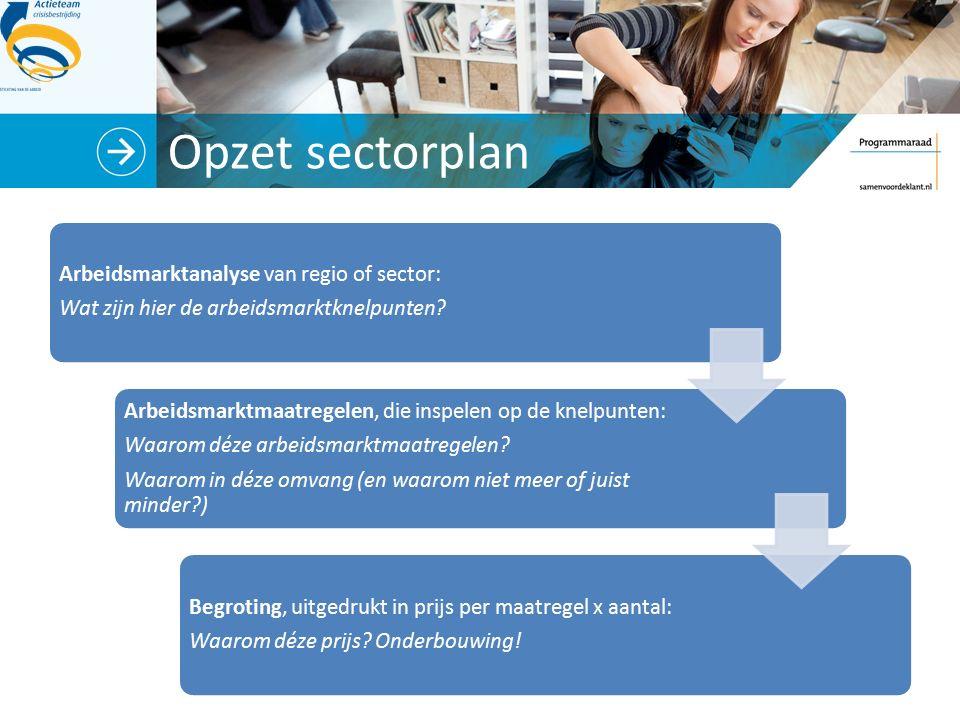 Opzet sectorplan Arbeidsmarktanalyse van regio of sector: Wat zijn hier de arbeidsmarktknelpunten? Arbeidsmarktmaatregelen, die inspelen op de knelpun
