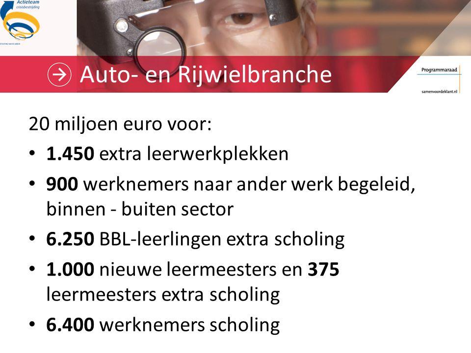 Auto- en Rijwielbranche 20 miljoen euro voor: 1.450 extra leerwerkplekken 900 werknemers naar ander werk begeleid, binnen - buiten sector 6.250 BBL-leerlingen extra scholing 1.000 nieuwe leermeesters en 375 leermeesters extra scholing 6.400 werknemers scholing