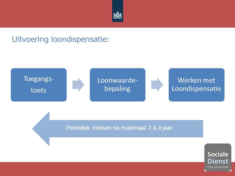 Uitvoering loondispensatie: 12 Toegangs- toets Loonwaarde- bepaling Werken met Loondispensatie Periodiek toetsen na maximaal 2 à 3 jaar