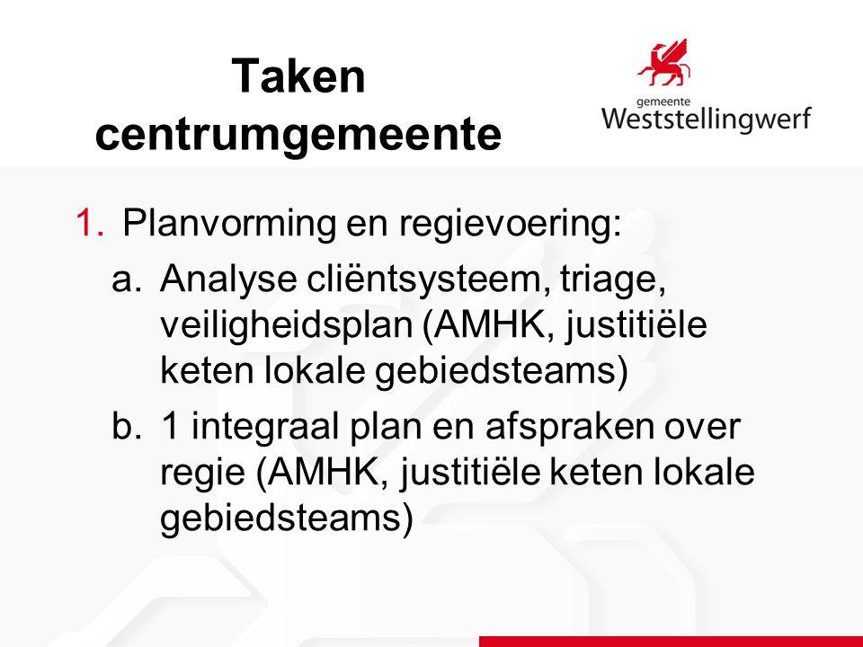 1.Planvorming en regievoering: a.Analyse cliëntsysteem, triage, veiligheidsplan (AMHK, justitiële keten lokale gebiedsteams) b.1 integraal plan en afspraken over regie (AMHK, justitiële keten lokale gebiedsteams) Taken centrumgemeente